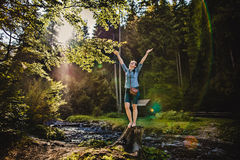 A girl in a forest Stock Photography