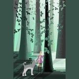 Girl forest water stock illustration