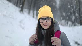 Girl in Forest During Winter Season. Beautiful girl in forest during winter season stock video footage