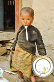 Girl with fork in Nepal royalty free stock photos