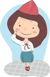 Girl in the form of pioneer greets. Royalty Free Stock Photography