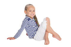 Girl in the form of a sailor boy. Beautifu girl in the form of a sailor boy. Girl is six years old stock photo