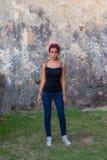 Girl in Fort St Cristobal. Teen girl standing near one of the walls of St Cristobal Fort historical site Stock Images