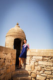 Girl in a fortress. Little trip to Essaouira. Morocco royalty free stock photography