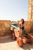 Girl in a fortress. Little trip to Essaouira. Morocco royalty free stock images