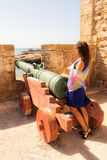 Girl in a fortress. Little trip to Essaouira. Morocco stock photography