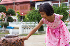 Girl fountain jar royalty free stock photo