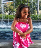 Girl By Fountains Royalty Free Stock Photos