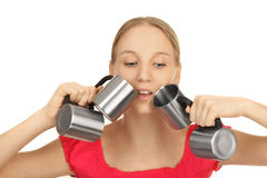Girl with four cups Stock Photo
