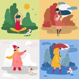 A girl and four seasons and weather. Snowy, rainy stock illustration