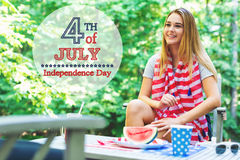 Girl on the fourth of July in her backyard Stock Image