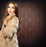 Girl in Fox Fur Coat Royalty Free Stock Images