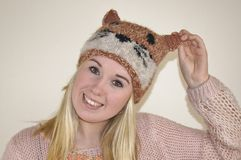 Girl in Fox Hat Stock Photography