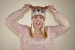 Girl in Fox Hat Stock Images
