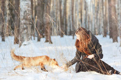 Girl with fox in winter forest Royalty Free Stock Photography