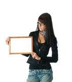 Girl with frame Stock Photo
