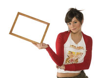 Girl with frame Stock Images