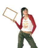 Girl with frame Stock Photos