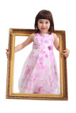 Girl with frame Royalty Free Stock Photography