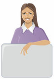 Girl with frame. Girl holding a box with information Stock Image