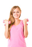Girl with free weights in gym Stock Image