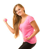 girl with free weights in gym Royalty Free Stock Images