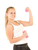 Girl with free weights in gym Royalty Free Stock Photo