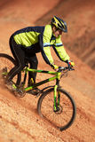 Girl freeride on red canyon Royalty Free Stock Image