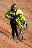 Girl freeride on red canyon Stock Photo