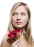 Girl with freesia Stock Images