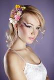 Girl with freesia Royalty Free Stock Photo