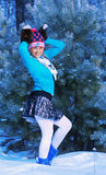Girl in freeze forest Royalty Free Stock Image