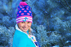 Girl in freeze forest Stock Photos