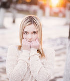 Girl freezing in the park Stock Image