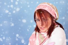 Girl freezing on snow Royalty Free Stock Image