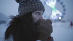 Girl freezing in winter street stock footage