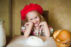 Girl with french bread Stock Photos