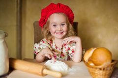Girl with french bread Stock Image