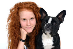 Girl with french bulldog Royalty Free Stock Photography