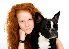 Girl with french bulldog Stock Photos