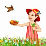 Girl and fresh berries. Summer present for children illustration Stock Photography