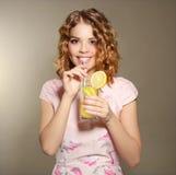 Girl with fresh lemonade Stock Photo