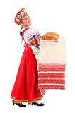 Girl with fresh loaf Royalty Free Stock Image