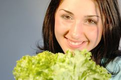 Girl with fresh salad 2 Royalty Free Stock Photos