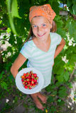 Girl with fresh strawberries Stock Photo