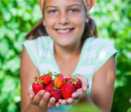 Girl with fresh strawberries Stock Photography