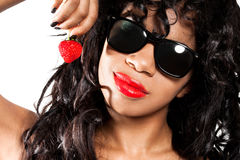 Girl with fresh strawberry Royalty Free Stock Photos
