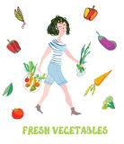 Girl and fresh vegetables card - market illustration Stock Photography