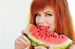 Girl with fresh watermelon Stock Photography