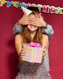 Girl with friend at birthday party Stock Photo